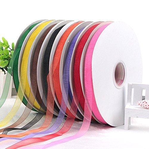 1/5,1cm Breite, Blumendruck, 8Farbe Sheer Chiffon Schleifenband Draht Value Pack Chiffon Ribbon Roll