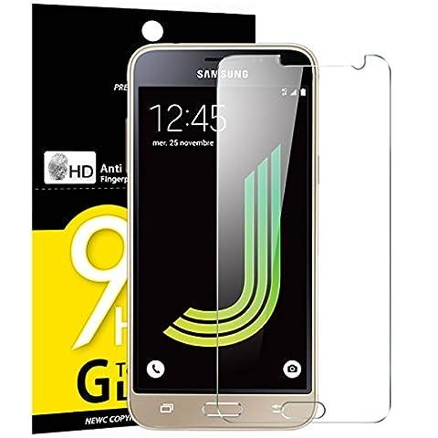 Verre trempé Samsung Galaxy J3 2016, NEWC® Film Protection en Verre trempé écran Protecteur vitre - ANTI RAYURES - SANS BULLES D'AIR -Ultra Résistant (0,33mm HD Ultra transparent) Dureté 9H Glass Screen Protector pour Samsung Galaxy J3 2016