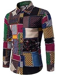 YUAFOAE Camiseta Hombre Algodon,Blusas Solapa Patrón Manga Larga