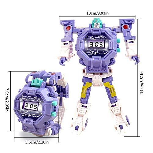 Mmhdz Toy Watch Transformers Spielzeug Kinder 2 in 1 Elektronische Transformatoren Spielzeug Uhr Deformierte Roboter Manuelle Transformation Roboter Spielzeug Kinder Geschenk (Lila)