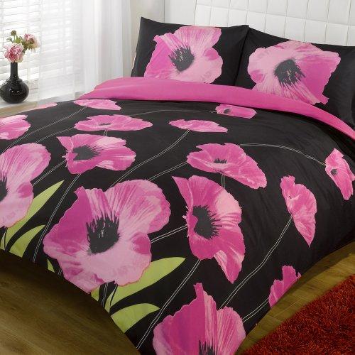 Dreamscene Bedding Amapola Floral Duvet Cover Bedding Set With Pillowcases, Pink, Super-King
