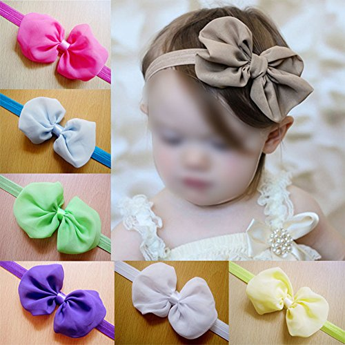 Zibuyu 12Pcs Kid Baby Girl Toddler Cute Chiffon Bowknot Headband Hairband Headwear