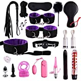 Tenue Sexy Bdsms Kit Accessoire érotique SM pour Femme Homme Adultes Couple kit Jouets Sexuel Corde Cuir Nylon Fouet Menottes Manilles, Ensemble Entertainment Peluche 19 pcs