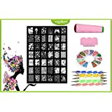 Royalkart Nail Art Stamping Jumbo Image Plate D.I.Y With Double-Sided Stamper, Scraper, 5pcs Double-Sided Dotting Tool & 3D Nail Art Wheel(XY13)