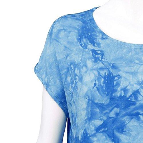 iBaste Damen Rundkragen Kurzarm Asymmetrisch Hem Tunika Tops Kurzarmshirt Sommer Bluse T-Shirt Blau