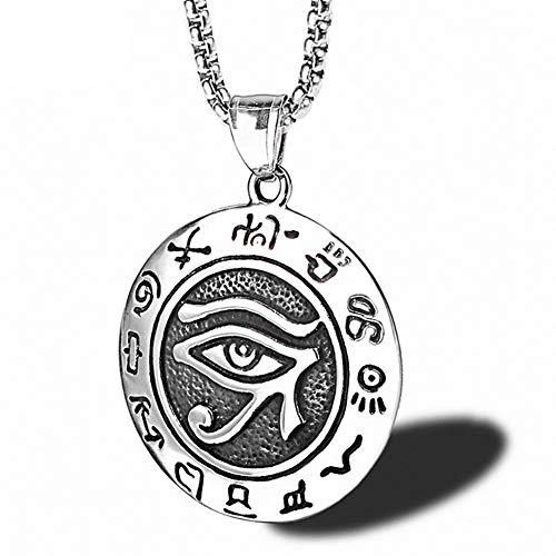 YISHIOR Collar de Hombre, Cruz egipcia con Ojo de Wedjat/Collar Colgante de Ojo de Horus, Amuleto de joyería de Acero Inoxidable Vintage para Hombres Punk