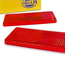 Reflektoren rot 2 Stück Set Rückstrahler Katzenaugen Hella KFZ PKW Auto Anhänger Motorrad selbstklebend eckig m. e-Prüfzeichen f. schwarze Heckleuchten Rückleuchten/TÜV 68x31mm inkl. Montageanleitung