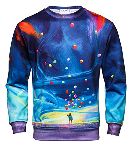 Pretty321 Men Women Hip Hop Digital Graphics Painting Casual Sweatshirt Collection Colorful Balloon Sky Paint