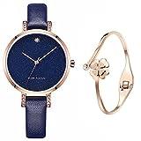XLORDX Classic Damen-Uhr Analog Quarz Blau Leder-Armband Blau Rosegold Strass Zifferblatt mit Elegant Rosegold Armband