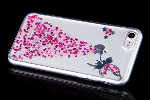 iPhone 7/8 Coque Housse Etui TPU,iPhone 7/8 Case Paillette,Hpory élégant Luxe Ange Motif Cristal Clair Transparent Paillette Bling Glitter Diamant Strass Brillante Housse de Protection Flexible Souple Glitter,Rose