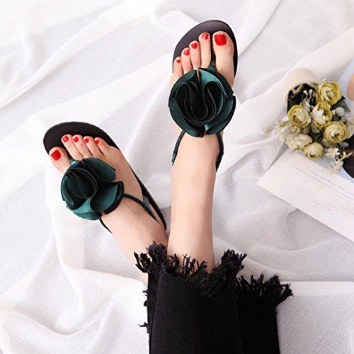 Transer ® Fashion femmes Mesdames fleur d'été Bohême Peep-toe faible sandales tongs Vert