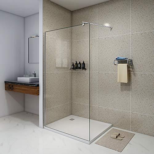 Duschwand Duschabtrennung 100x200 Walk-In Dusche Seitenwand Duschwand mit Stabilisator aus Echtglas 8mm ESG-Sicherheitsglas Klarglas JDONG