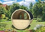 FinnTherm Fass-Sauna Tyra ohne Ofen | Premium-Thermoholz - Gartensauna Außensauna