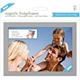 "Shot2go magnetic photo fridge frame pockets silver border 4x6"" 2 pack"