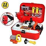 HERSITY 25 Stücke Werkzeugkoffer Rucksack Werkzeug Spielzeug Set Spielwerkzeug Rollenspiel Geschenke für Kinder