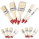 30x Malerpinsel Set | 5 verschiedene Größen | Naturholz/rot | Pinsel Set Flachpinsel Lasurpinsel Satz Pinselset Pinselsatz