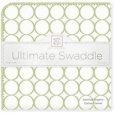 SwaddleDesigns Organic Ultimate Receiving Blanket, Prints, Kiwi Mod Circles (japan import)