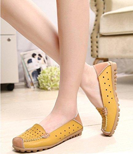Minetom Donne Moda Loafer Scarpe Hollow Mocassino Pantofole Tallone Piano Estate Scarpe Giallo