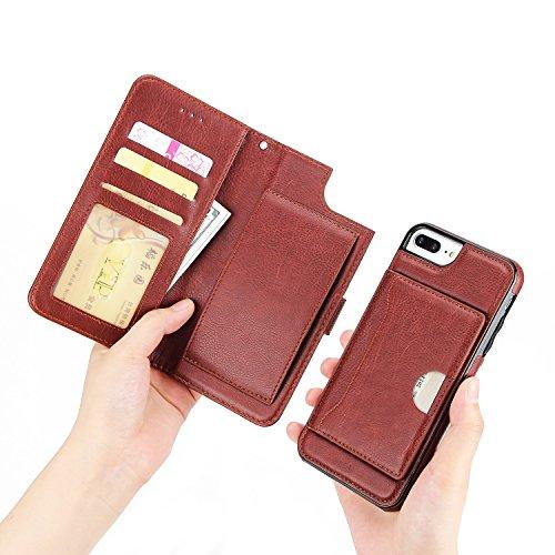 EKINHUI Case Cover Premium PU Ledertasche, 2 in 1 abnehmbare Folio Brieftasche Stand Decke mit stilvolle Manetische Niet Schließe & Lanyard & Halter für iPhone 7 Plus ( Color : Black ) Brown