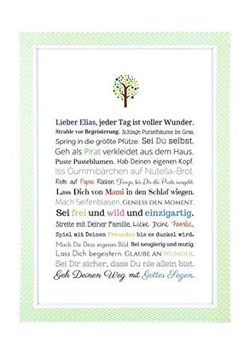 Taufgeschenk Junge | Personalisiertes Bild als Geschenk zur Taufe für Kinder und Babies in DIN A4 - Ideal als Gastgeschenk von Taufpaten