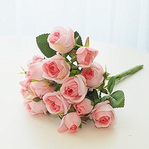Pingofm Die Rose Künstliche Blumen Magnolia emulation kit Dekorationen gestecke Topfpflanzen Wohnzimmer Möbel Schmuck indoor Anstecker Kunststoff silk Blume Rose 25 rosa Blume gefälschte Blume