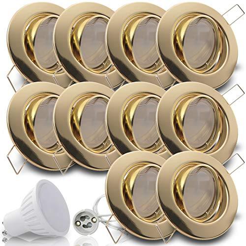 LIMITIERTE AKTION Decken Einbaustrahler DECORA; 230V GU10; 10er Set inkl. SMD LED 5,0W = 50W (Warmweiss); 360 Lumen; schwenkbar; GOLD MESSING; Einbauspot Spot; Leuchtmittel austauschbar