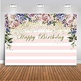 Mehofoto Happy Birthday Photo Backdrop 7x5ft Rayas rosadas y blancas Colorido Floral Rosas Decoración Banner Telones de fondo Sparkling Gold Spots Fiesta de cumpleaños Fotografía de fondo para niños