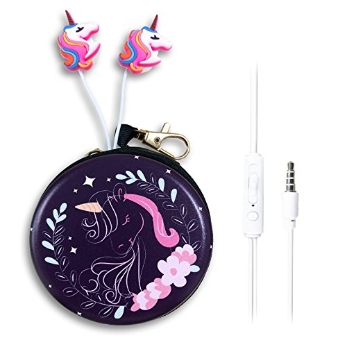 QearFun in Ear 3,5 mm Süßes 3D Cartoon Einhorn Pferd Kopfhörer mit Mikrofon mit Kopfhörer Fall Freisprecheinrichtung für Apple, Samsung, Android Smartphones MP3 Lady Unicorn Kopfhörer-fall