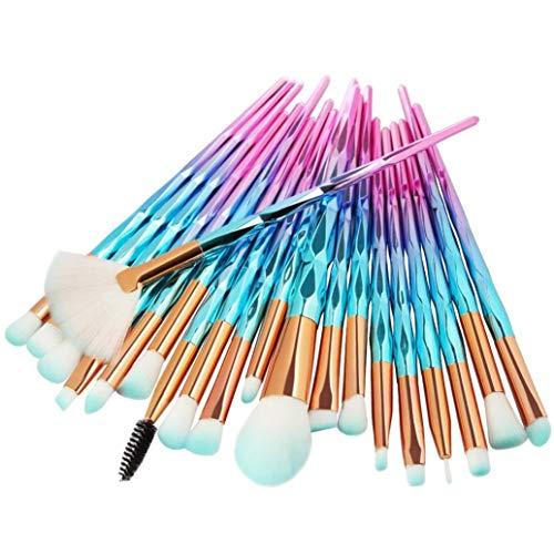 Einhorn Makeup Pinsel Set, INTVN 20 Stücke Lidschatten Make Up Pinsel Set + 30 Stücke Weiß Make-Up Wattepads - Pulver Foundation Rouge Lidschatten Blending Pinsel