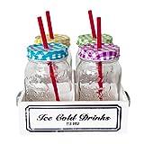 Trinkglas Set mit Holz Tablett | 4 x Trinkgläser 500ml mit Deckel und Trinkhalm in Einmachglas Optik |Serviertablett im Vintage Look |Tolle Geschenkidee und ideal für Draußen!