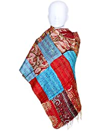 Indiweaves Vintage Silk Hand Quilted Kantha Hand Work Dupattas Reversible Scarves Scarf Patchwork Multicolor(80200... - B0767LJRYX