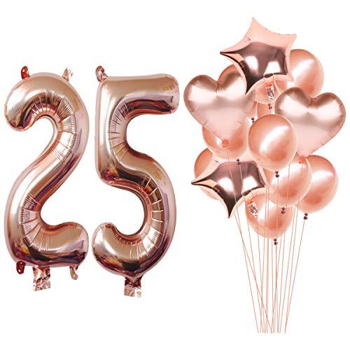 tgold Helium Jumbo Digital Zahl 25 Luftballons Kit Rotgold Latex Ballons Geburtstag Party Dekoration Supplies ()