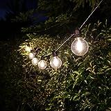 strombetriebene Niedervolt Design Filament LED Leuchtkolben Außen Lichterkette - Leuchtkolben in Tulpen- oder Globus-Form mit geradliniger oder höhenunterschiedlicher Verkabelung, von Festive Lights (10 Globen geradlinig)