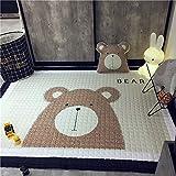 BEAUTIFULNUHAI für Weihnachten Teppich145x195 cm Baumwolle Schlafzimmer Teppichmatte Cartoon Teppich Kinderzimmer Spielzeug Speicherorganisator Krabbeln W
