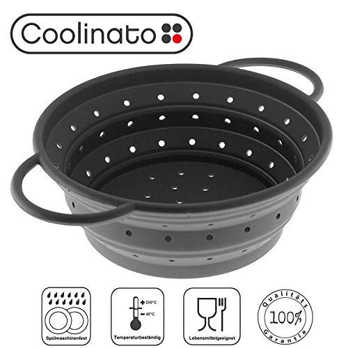 Image of Coolinato Sieb faltbar aus Silikon | Platzsparend, leicht zu reinigen und Spülmaschinenfest | Verwendet als Nudelsieb, Abtropfsieb, Dampfgar Einsatz oder Küchensieb | Grau 24cm