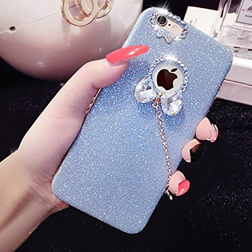 Cover per iPhone 7 Plus/iPhone 8 Plus, EUWLY Sparkling Glitter Silicone Custodia per iPhone 7 Plus/iPhone 8 Plus Creativo Disegno Bling Brillante Diamante con Bello Ciondolo Protettiva TPU Custodia Co Glitter Blu