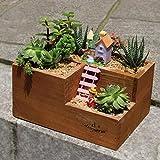 T-99581 Tritow Tre vasi da Fiori in Legno Reticolo Forniture da Giardino Piante grasse Cactus Fai da Te Vasi per fioriere Bonsai Decorazione Desktop per la casa Protezione Ambientale Vaso in Vaso