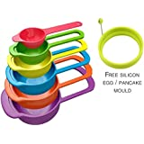 [Sponsored]Lagfly Set Of 6 Measuring Cups And Spoons - Space Saving Design - Colorful - Includes: 1/2 Tbls, 1 Tbls, 1/4 Cup, 1/3 Cup, 1/2 Cup, 1 Cup - Durable Plastic - Easy To Clean - Dishwasher Safe . Special Offer Free Silicon Fry Egg / Pan Cake Mould