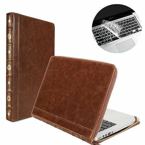 Se7enline® (2 in 1) Macbook 13 Zoll PU Leder Schutzhülle im Klassik Buch-Stil, Reißverschluss Clip-On-Schutzhülle PU Leder Sleeve Tasche Hülle für Macbook Pro(mit CD-Rom) 13 Zoll Modell A1278 + Klar TPU DE Design (QWERTZ) Tastatur Schutzhülle - Klassik Braun