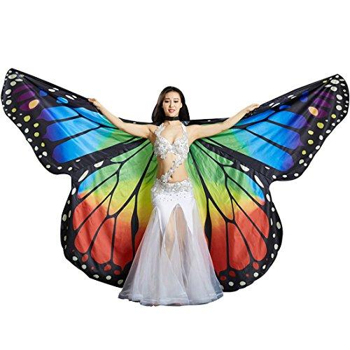 Calcifer Marke neue Ägyptische Ägypten Belly Dance Monarch Schmetterling Engel Isis Flügel mit 2Teleskop Sticks, mehrfarbig