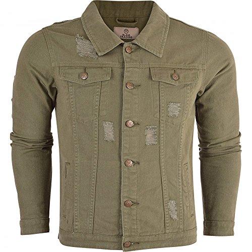 6875c226120 Island Trading Mens Denim Jacket Khaki Jeans Jacket Distressed Rips Ripped  4 Pocket Fashion Coat Large