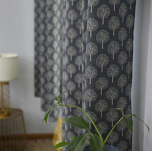Rideaux et rideaux Rideaux occultants Gris clair Rural Romantique Impression Coton et lin pour Salon Chambre Produit fini Haut à oeillets Un panneau , gray , 1pc(140*215 cm)