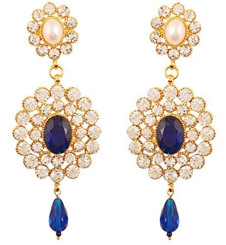 Touchstone indischen Bollywood Liebenswürdig, Faux Perlen hellen Blau Faux Saphir und weißen Kristallen Dazzling Brautschmuck Jewelry Kronleuchter Ohrringe für Damen in gold Ton. (Kristall-kronleuchter Finish Gold)