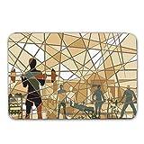 LIS HOME Eignungs-Gummirücken-rutschfeste Tür-Matten, Mosaik-Design von den Leuten, die in Einer...