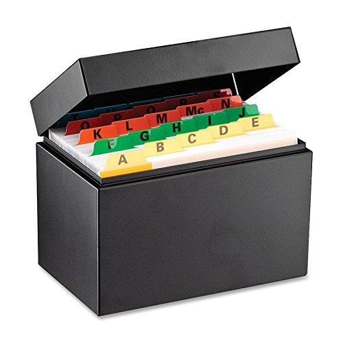 Steelmaster 263644BLA Card File Box - 900 x Index Card (4 x 6) - External Dimensions: 6.6 Width x 4.1 Depth x 4.9 Height - Steel - Black - Index Card by STEELMASTER (Index File Box 4x6 Card)