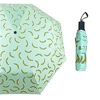 JUNDY Windproof Travel Umbrellas - Lightweight Compact Folding Umbrella, Reinforced Canopy, Fresh fruit black rubber umbrella