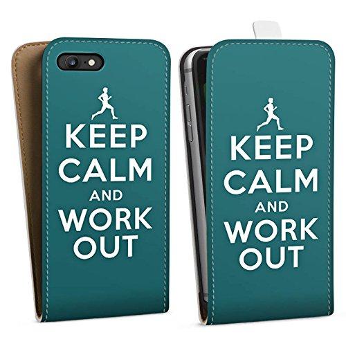 Apple iPhone X Silikon Hülle Case Schutzhülle Keep Calm Workout Spruch Downflip Tasche weiß