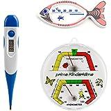3 pzas. termómetro niños conjunto con termómetro para la fiebre niños digital con punta flexible y análogo vivero termo / higrómetro y niños baño pez termómetro blanco impreso