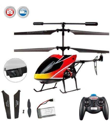 3.5 Kanal RC ferngesteuerter Hubschrauber inkl. Crash-Kit und Kamera-Set, mit Gyro-Technik, Helikopter-Modell mit Top-Flugeigenschaften durch neueste Technik, Ready-to-Fly Heli-Modell, Neu (Top Rc Hubschrauber)