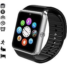 MallTEK Android Smartwatch Bluetooth con Tarjeta TF / SIM, Reloj Inteligente 1.54 Pulgadas con Cámara, Smart Watch con Funciones Pedómetro, Monitor de Sueño, Cámara Remota etc, Pulsera Inteligente para Huawei, Doogee, Samsung, Lenovo, Sony, HTC y la Mayoría de Smartphone Android (Plata)